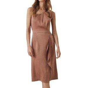 Reiss Size 4 Bronze Sara Ruffled Satin Midi Dress